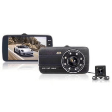 Full HD 1080P 4 Inch IPS Screen Car DVR Camera Auto Video Recorder 170 Degree Wide Angle Dual Lens Dash Cam Night Vision DVR 4 inch 1080p full hd car dvr dash camera 170 degree wide angle video recorder with rear view camera g sensor auto driving camera