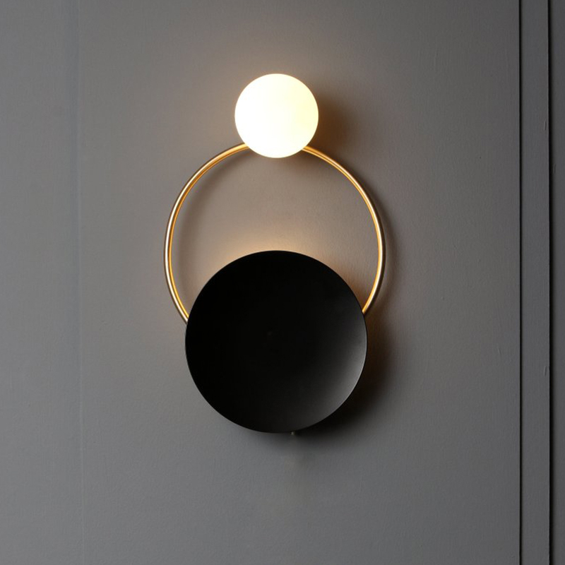 Modern Indoor Golden Wall Sconce Lights Fixture Nordic Ring Bedside Lamps Luminaire Bedroom Living Room Lighting Hallway Decor
