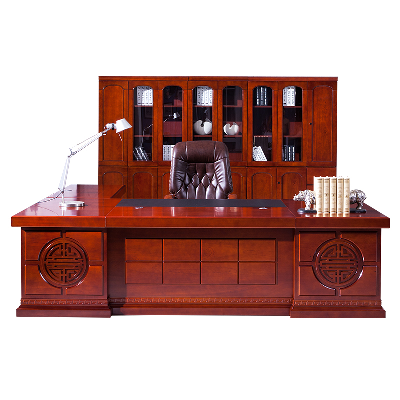 Office Furniture Boss Desk Supervisor Table New Chinese Solid Wood Leather President Table Big Shift Desk Manager Office Desk