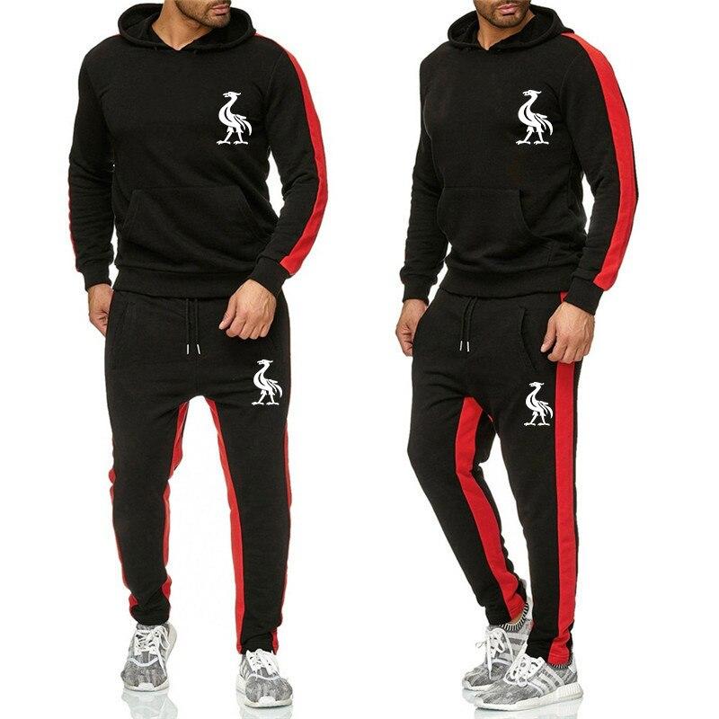 Brand Clothing Men's Fashion Tracksuit Casual Sportsuit Men Hoodies Sweatshirts Sportswear Liverpool printing +Pant Men Set