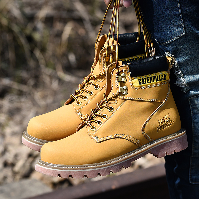 Promo Spring/Autumn Leather Boot Men Mid-Top Men Work Boots Good Quality Tactical Boot Men Comfortable Casual Boots Mens Big Size38-45