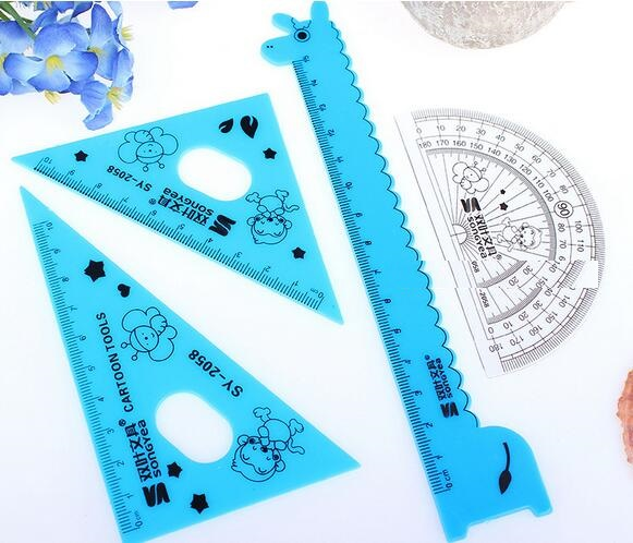 1pack/lot Creative Cartoon Giraffe Design Plastic Straight Ruler+Protractor+setsquare Set 15cm Mathematical Tools Stationery