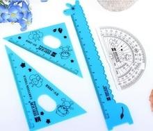 1pack/lot Creative Cartoon Giraffe design Plastic Straight ruler+Protractor+setsquare set 15cm Mathematical tools Stationery