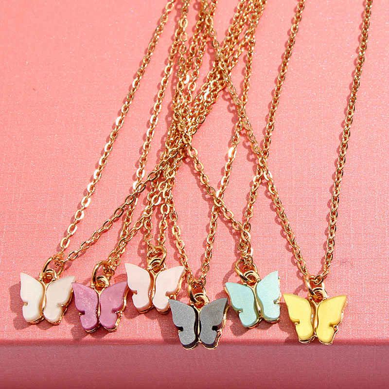 Flatfoosie 韓国のかわいい蝶のネックレスゴールドカラーロングチェーンペンダントネックレスステートメントファッションチャームジュエリーギフト