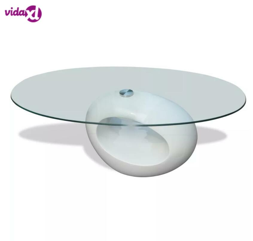 VidaXL Living Room Table Basse Modern Coffee Table With High-Gloss Oval Base Glass Tabletop Bedroom Bedside Table Home Decor