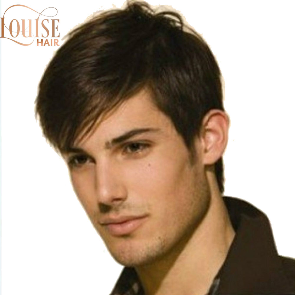 Louise  Dark Brown Wig Mens Short Synthetic Hair Wigs Hort Straight Synthetic Men Wigs Dark Brown Color Natural Male Wig