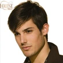 Короткие мужские парики из синтетических волос Louise Dark Brown, прямые синтетические мужские парики хаорта темно-коричневого цвета, натуральный ...