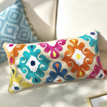 Home Decor Cushion Cover Embroidery Colorful Floral  Ethnic Tassels Boho Style Pillow Cover 30x60cm