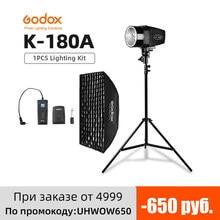 Godox K 180A 180Ws estudio de fotografía lámpara estroboscópica para Flash + 50 70cm x 70cm Gird Softbox + 180cm soporte de luz + RT 16 gatillo Kit de Flash