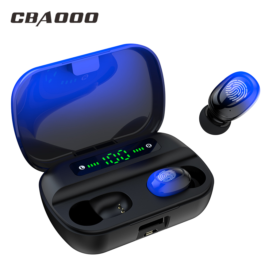 TWS 5.0V Wireless Headphones With 3000mAh Charging Touch Control Bluetooth Earphones With Microphone Sport Waterproof Headset