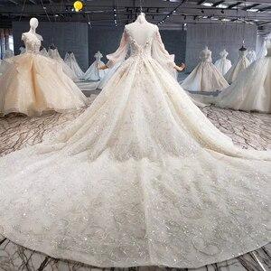 Image 2 - Htl1075 겸손한 웨딩 드레스 우아한 높은 목 레이스 다시 크리스탈 구슬 긴 소매 레이스 웨딩 드레스 럭셔리 suknia 2020 lubna