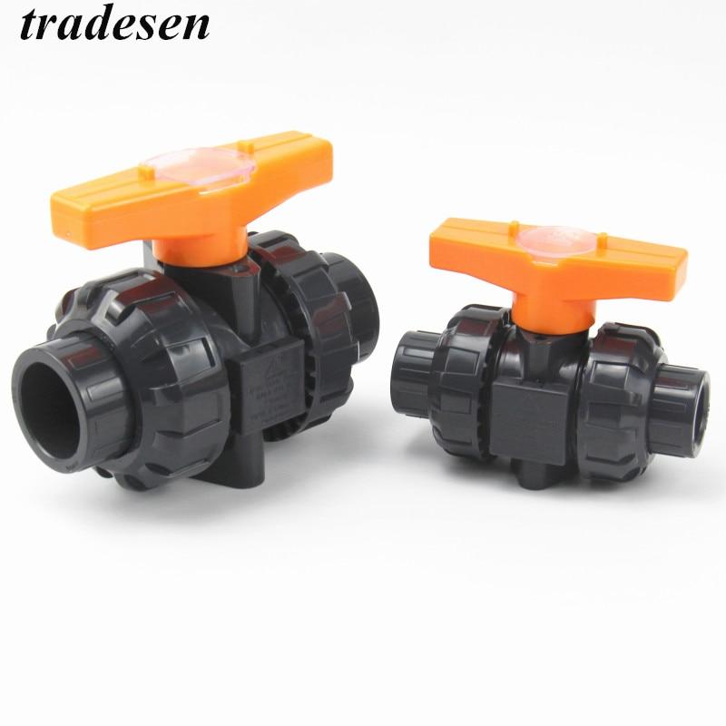 1pc 20mm 25mm 32mm 40mm 50mm PVC Ball Valve Union Valve PVC Water PVC Pipe Connector Plumbing Hose Fittings Slip Shut Valve