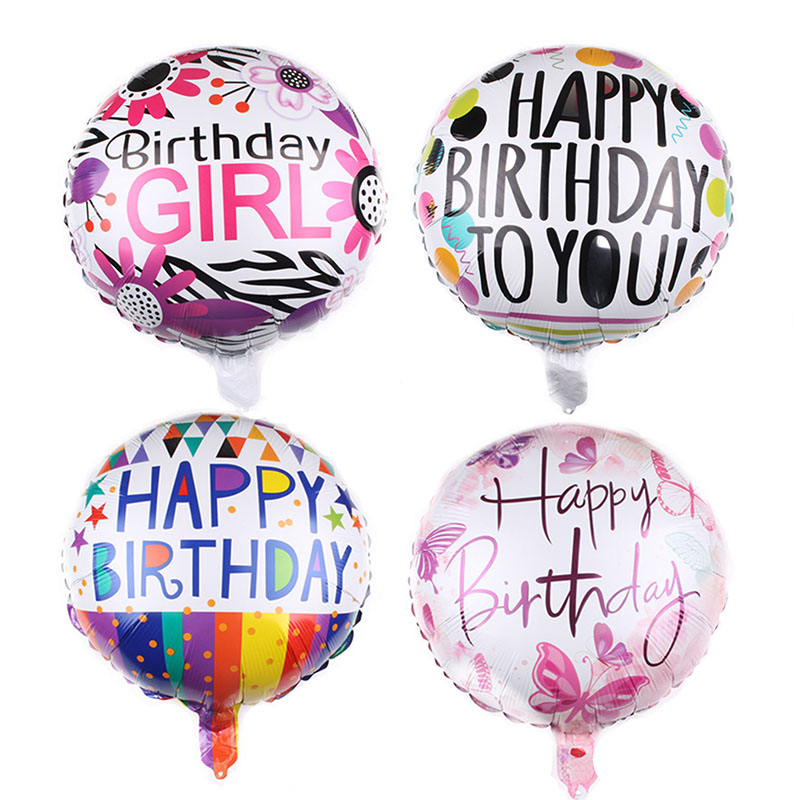 1Pc <font><b>18</b></font> Inch Happy Birthday Foil Balloons Children Birthday Butterfly Flower Pattern Helium Foil Balloons for Kids Party Supplies image