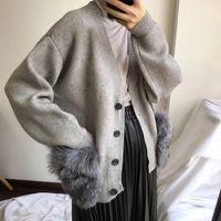Big Real Fur Pockets Knitted Outwear Cardigan Winter Women Sweater Coat Jacket Long Sleeve Single Button Cardigans Pull Femme