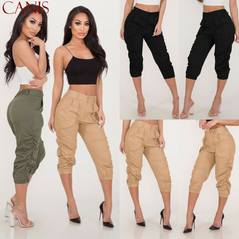 2020 New Summer Ladies 3/4 Trousers Women's Three Quarter Elasticated Waist Capri Cropped Pants