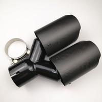 1PCS Dual carbon fiber + Stainless Steel exhaust pipe muffler Matte Black Exhaust Tip
