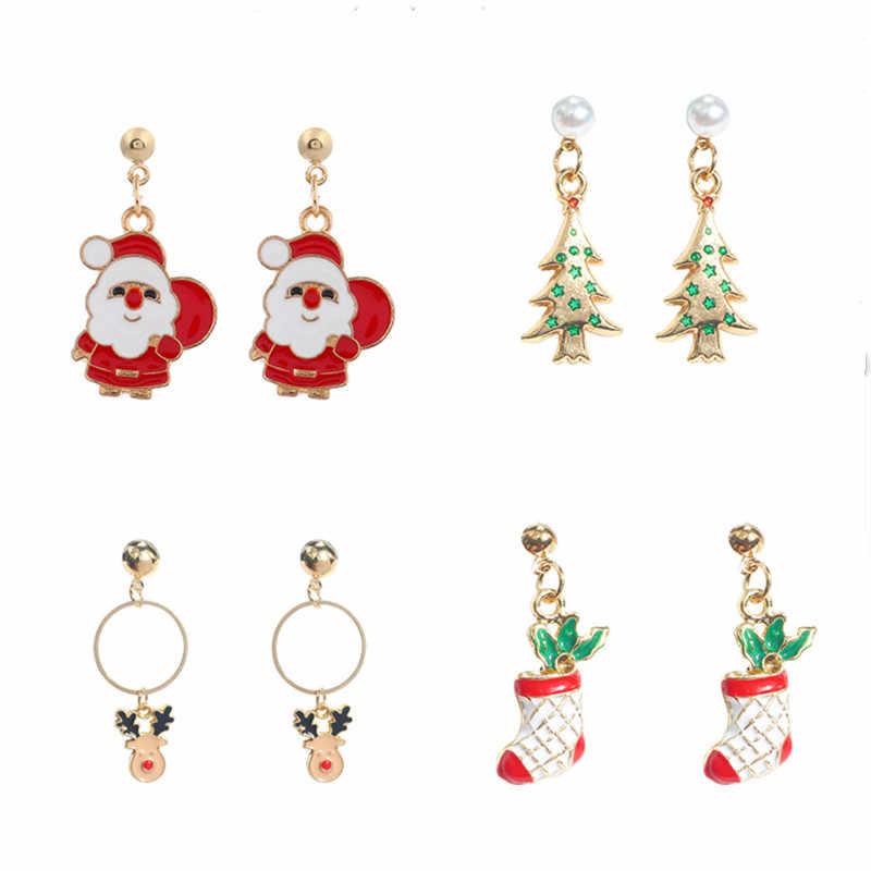 2020 Anting-Anting Ornamen Natal Dekorasi Santa Claus Elk Liontin Natal Dekorasi untuk Rumah Navidad Ornamen Natal Hadiah