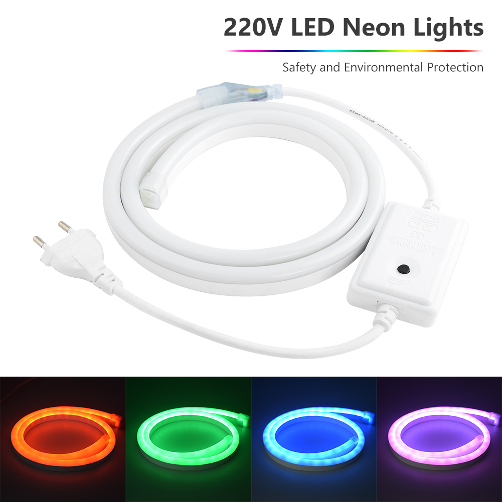 1-8m AC220V Flexible Led Strip Neon Tape SMD 2835 Soft Rope Bar Light 120leds/m Lamp Tube Outdoor Waterproof Light EU Adapter
