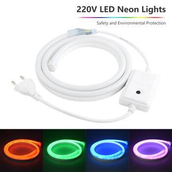 1-8m AC220V Flexible Led Strip Neon Tape SMD 2835 Soft Rope Bar Light 120leds/m Lamp Tube Outdoor Waterproof light EU Adapter