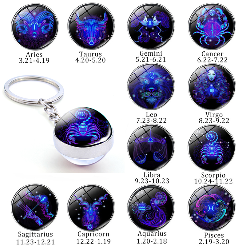 New 12 Constellation Keychain Bull Sheep Lion Crab Scorpion Zodiac Glass Ball Key Chain Car Key Ring Men Birthday Gift
