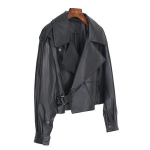 Image 2 - OFTBUY nouveau printemps en vrac en cuir véritable veste femmes 2020 mode noir réel en peau de mouton manteau moto motard vêtements de dessus pour femmes