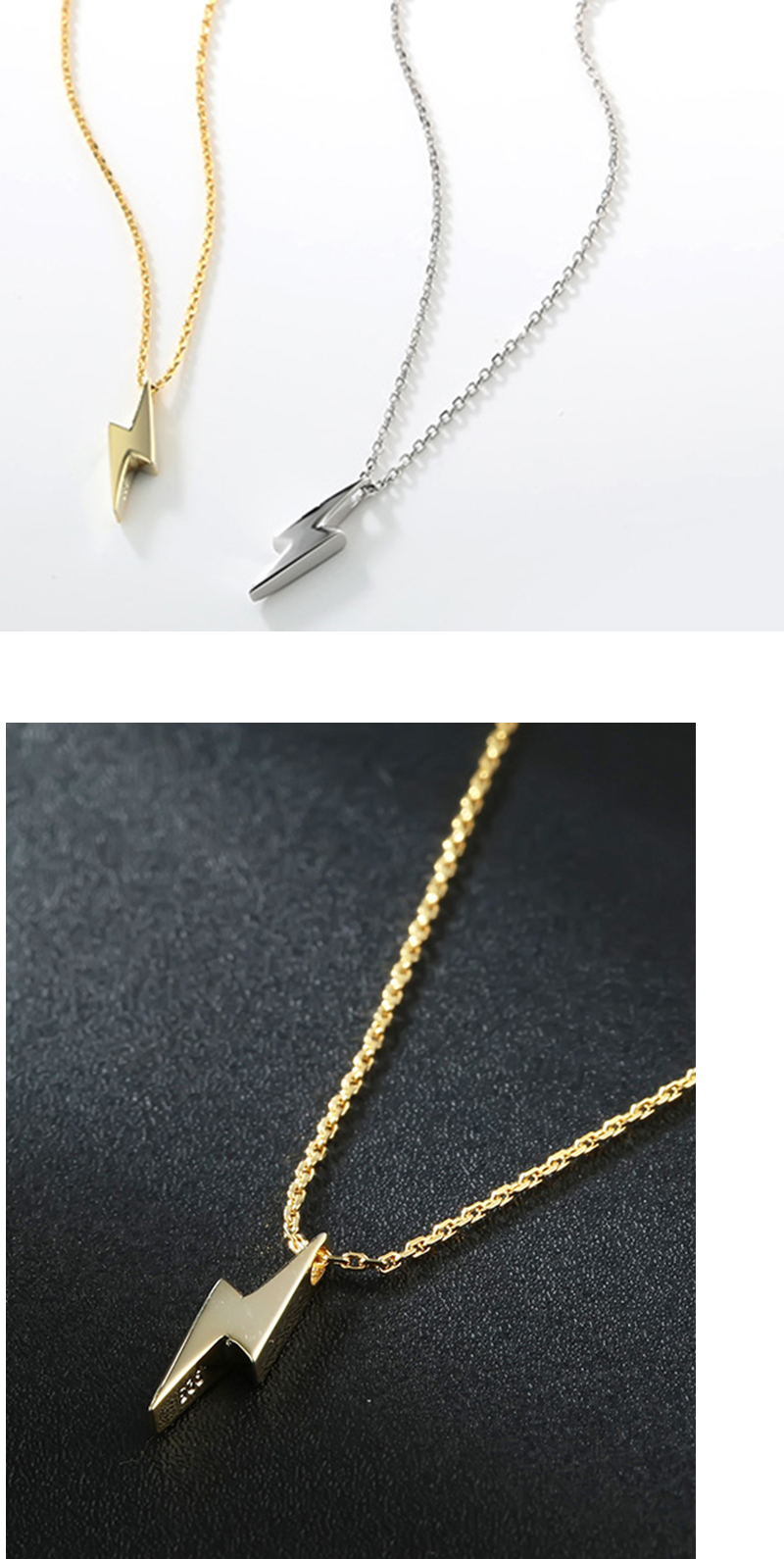 H0148d39d885244079dfc4173bc52ae9bL Dorado 925 Sterling Silver Necklaces Golden Silver Lightning Pendant Necklaces Fine Jewelry Gift Birthday  For Women