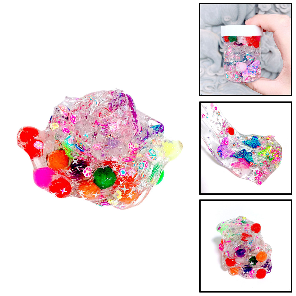 Butterfly Flowers Pretty Slime Kids Relief Stress Toys Gift Charms Shine Transparent Slime Toy Crystal Glue #B