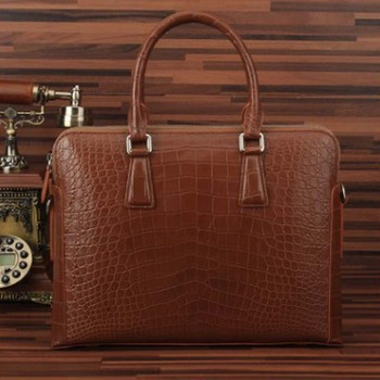 ourui true crocodile male business A briefcase Genuine leather Large bamboo handbag male men handbag