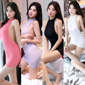 Lingerie Erotic Women Sexy Perspective Big Backless Hip-Up Short Dress Bodysuit Having Sex
