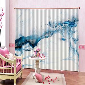 Синий мрамор текстура печать затемненные занавески для гостиной спальни Крытый дети окна драпировки наборы (левая и правая сторона)