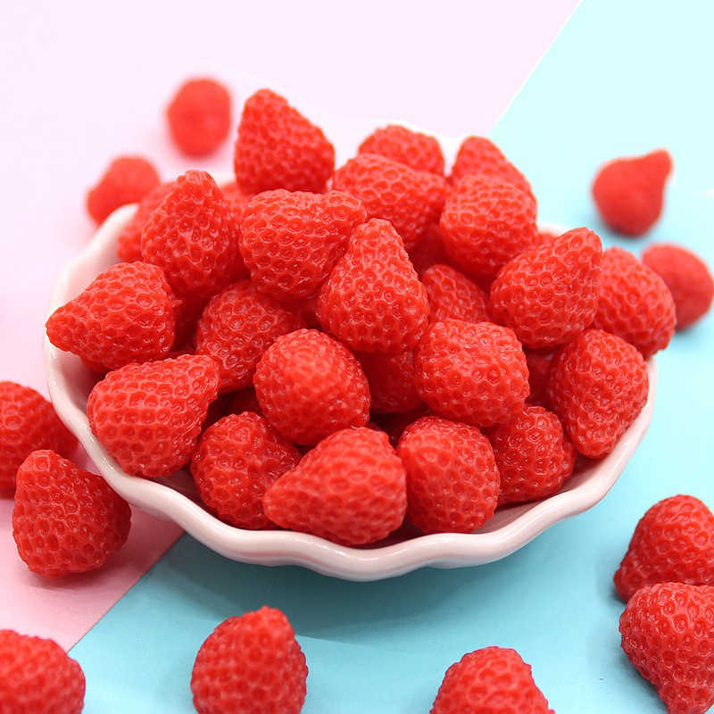 Happy Monkey 10pcs Strawberry Slime Supplies Resin Fruit Charms Additives Kit DIY Accessories Filler For Fluffy Clear Slime Clay