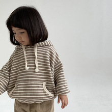 Children Casual Sweatshirts Striped Print Hoodies For Girl Boys Baby Clothes Autumn Hooded Pullover Kids Sweatshirt Tops