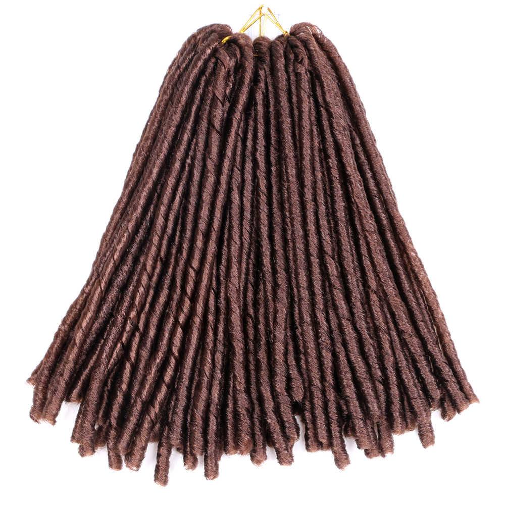 Miękkie Locs dredy włosy plecione na szydełku włosy plecione syntetyczne włosy plecione przedłużanie włosów 14 cal wysokiej temperatury włókna warkocz