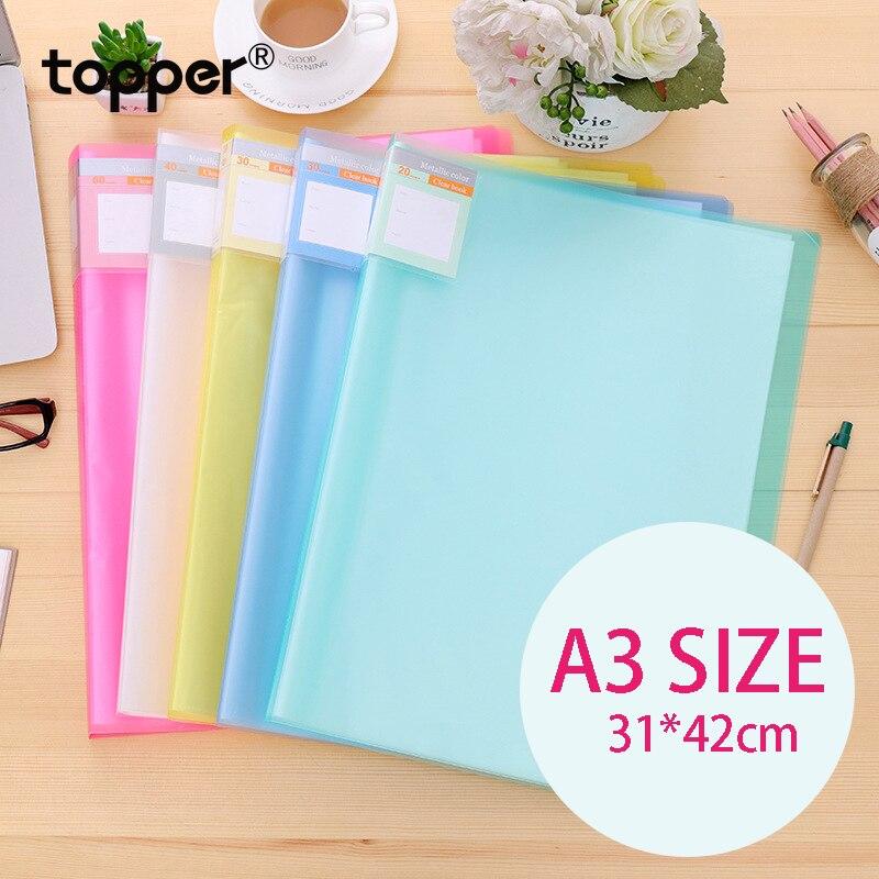 A3 Displaybook Transparent Information Book 8K Blueprint Book 8 Open Folder Transparent Insert Folder Storage 20 30 40 60 Pages