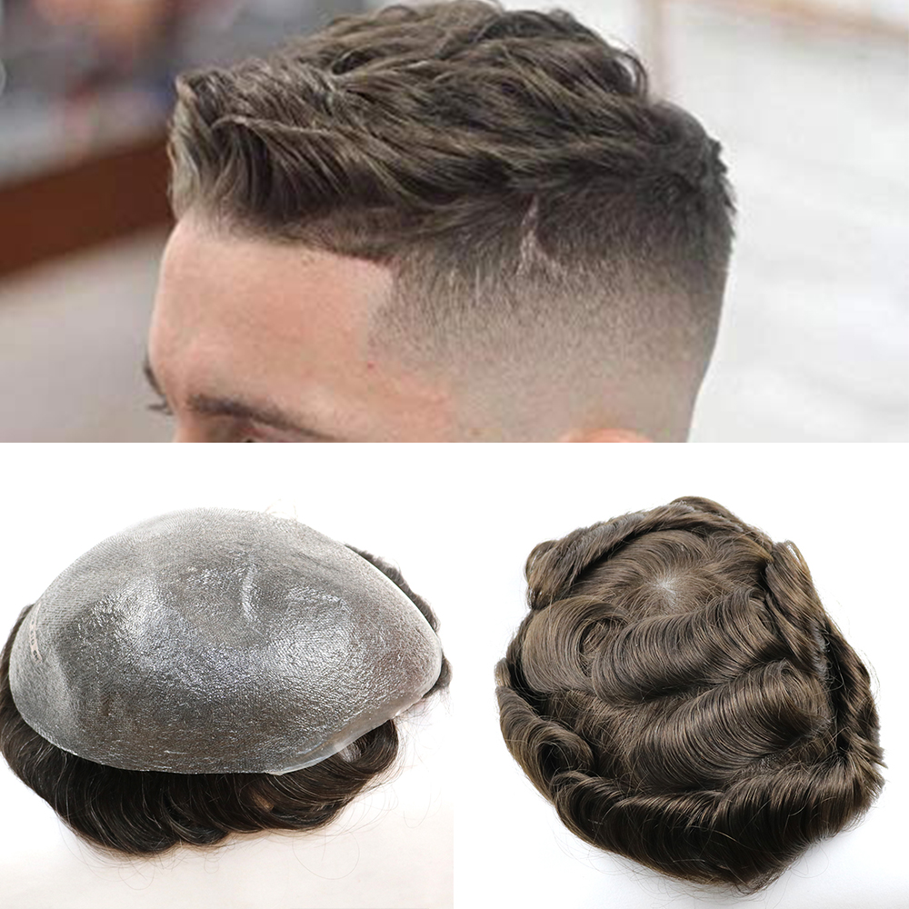 Poly Skin Short Mens Toupees Hair Pieces Indian Men Toupee Thin Skin NG Toupee Hair Wig Human Hair