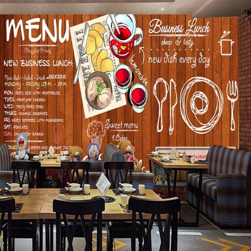 Drop Shipping Wallpaper 3d Custom Retro Nostalgia Wood Western Restaurant Milk Tea Wall Mural Dessert Shop Cake Shop Wallpaper