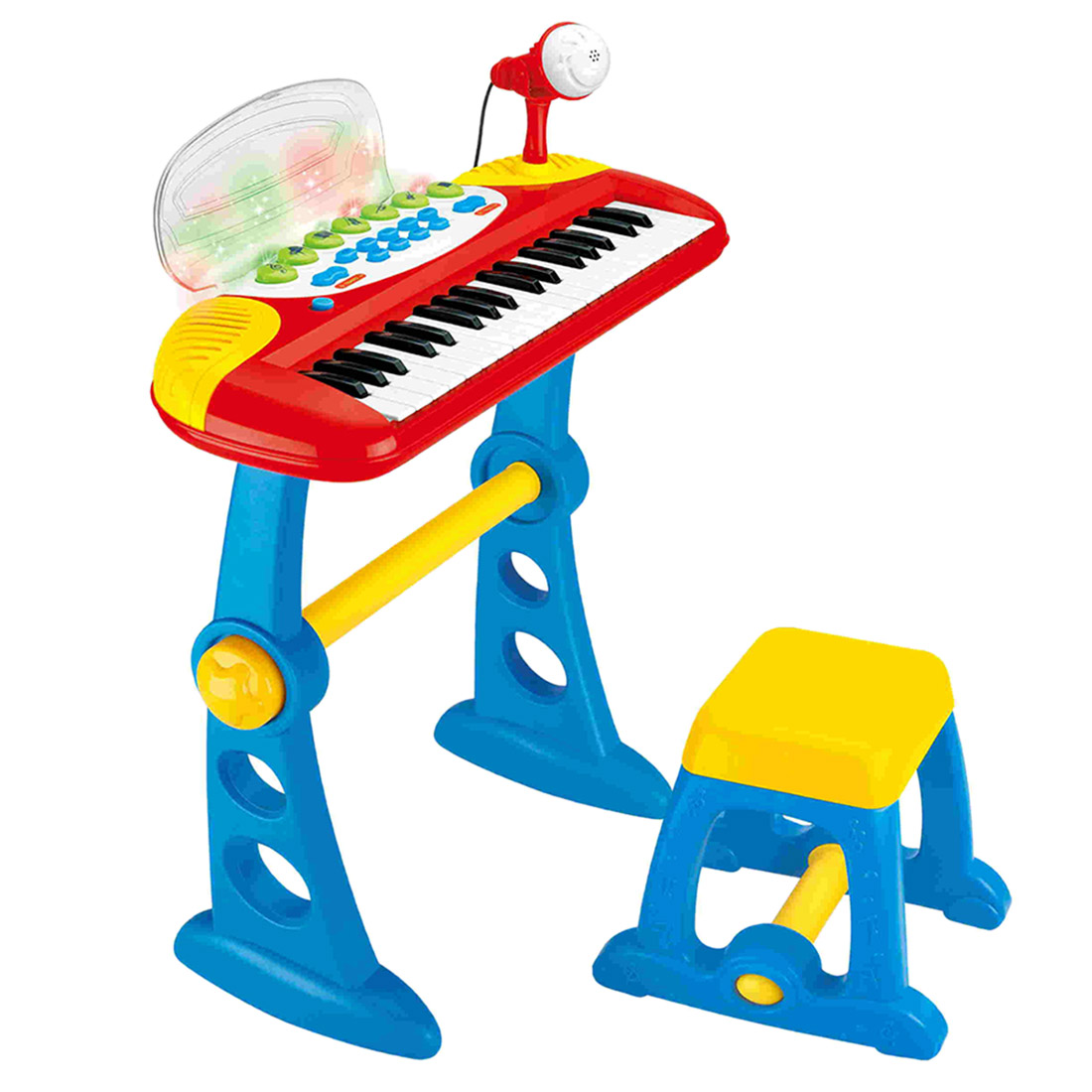 Hot 37-Key Children Multifunctional Electronic Keyboard Piano With Microphone Educational Toy Gift For Kid Children - Red Blue