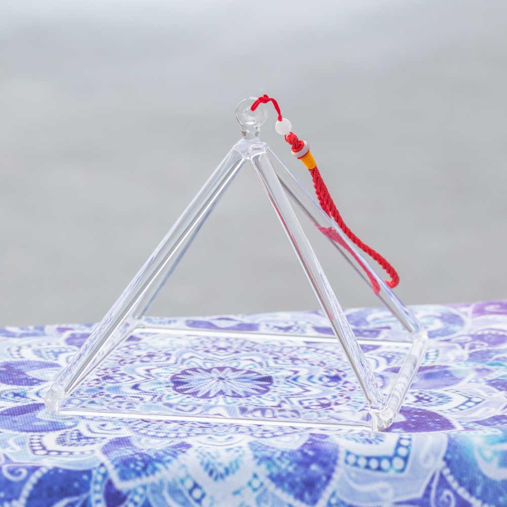 8 סנטימטרים קריסטל שירה פירמידת עבור ריפוי אנרגיה עם מחרוזת ופטיש