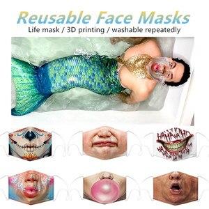 Маски для рта с забавным рисунком, многоразовые маски с 3d-принтом, пыленепроницаемые и пыленепроницаемые маски для рта, полулица, Mask4all
