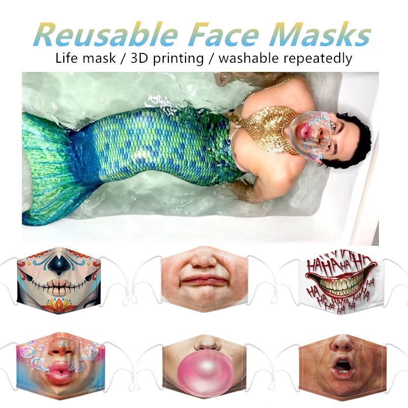 Funny Pattem 3D Print Mascarillas Grimace Protective Dustproof Bacteria Proof Mouth Masks Skeleton Half Face Mask4all Reusable