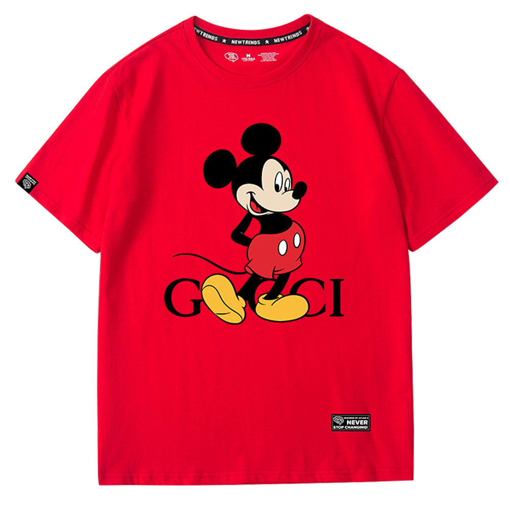 Female Stylish Mickey Mouse Cartoon Letter Print Cotton Women T shirt O neck Pullover Short Sleeve Cute Loose Tee Casual Tops|T-Shirts| - AliExpress