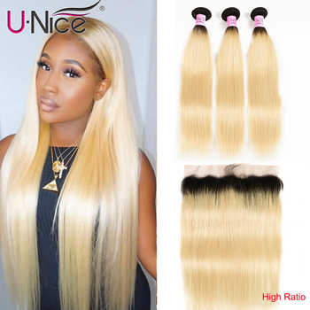 Unice Hair Brazilian Straight Hair 3 Bundle with 13x4 Lace Frontal Closure High Ratio 1B 613 Blonde Ombre 100% Remy Human Hair - DISCOUNT ITEM  30% OFF All Category