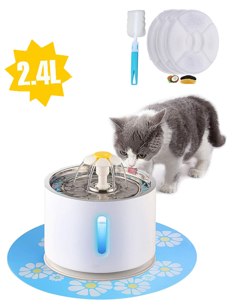 Drinking-Bowl Fountain Cat-Water 3-CARTON-FILTERS Automatic Pet-Cat LED USB Dog