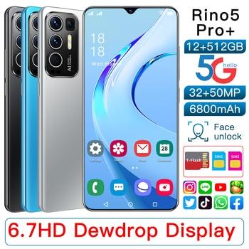 2021 Newest Smartphones Rino5 Pro 6.7Inch 16+512GB Face Fingerprint Mobile Phone MTK6889 32+50MP 6800mAh Andriod11.0 Cellphone 2