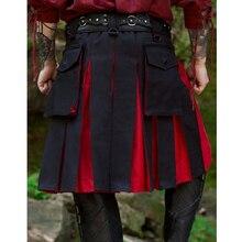 Средневековая винтажная миди плиссированная юбка для взрослых мужчин Ренессанс сценический костюм мужской нерегулярный КолорБлок килт юбка одежда плюс