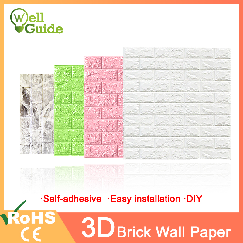 3D Wall Paper Brick Marble Waterproof Wall Paper 3D  Decor For Bedroom Kids Room Living Room Wallpaper DIY Self-Adhesive Paper