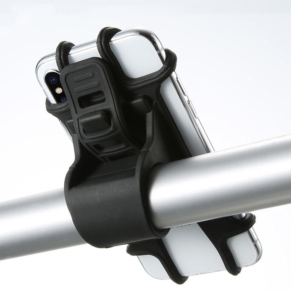 Thicken Bike Phone Holder SiliconeAdjustable Pull Button Anti-shock Phone Holder Mount Holder Phone Band Bike GPS Clip Universal