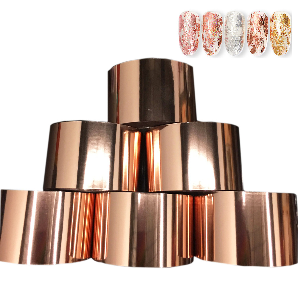 1Roll Rose Gold Charm Nail Foils Polish Stickers 120m Metal Silver Color Paper Transfer Foil Wraps Adhesive Decals Nail Art Tips in Stickers Decals from Beauty Health