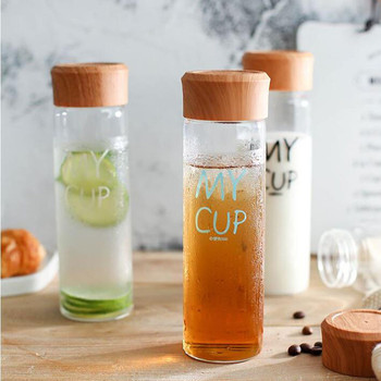 300ml Glass Water Bottle with Tea Filtration Wood Grain PP Lid Summer Fruit Juice Milk Bottle Student Portable Drink Cup 2