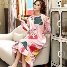 Lingerie vêtements de nuit femme coton printemps automne chemise de nuit à manches longues rose impression chemise de nuit taille ample à volants ourlet chemises de nuit nouveau